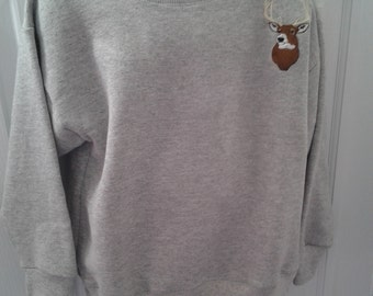 Gray Child's sweatshirt with Deer Embroidery