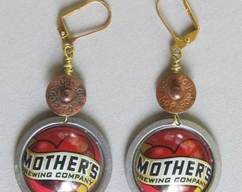 "Mother's ""Joy"" Denim Rivet Disc Earrings"