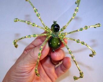 Christmas Spider Green Gold Vein  Beaded German  Ornamental Tree Decoration
