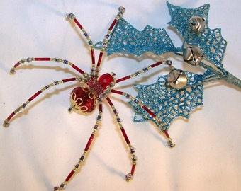 Christmas Spider Red Crystalline  Beaded German  Ornamental Tree Decoration