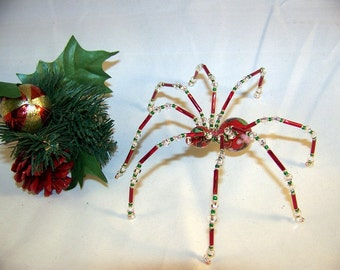 Christmas Spider Red Cloisonne  Beaded German  Ornamental Tree Decoration
