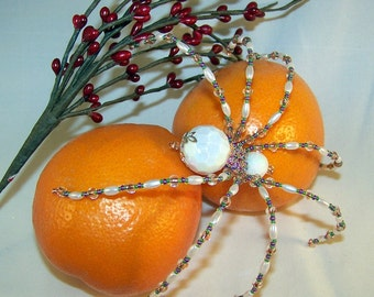 Christmas Spider White Acrylic  Beaded German  Ornamental Tree Decoration