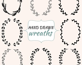 Vector Wreath, Wreaths Clipart, Hand Drawn Clip Art, Digital Graphics, Vintage Logo Element, Wedding Clipart, Branch Ink Drawing, Frame