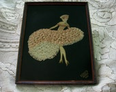 Ribbon Work Flapper Framed Vintage Painted Paper Image Flapper with Curls Wearing Ribbons Lace Printed Luigi's Detroit 1929 Depression Era