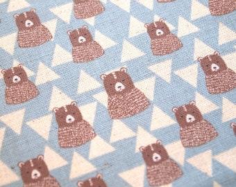 Kokka cute bear linen fabric in blue. Japanese linen fabric, kokka fabric, fat quarter