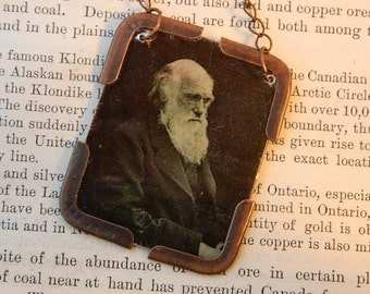 Charles Darwin necklace Darwin jewelry Evolution Science jewelry mixed media jewelry