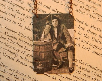 Peter Pan necklace Captian Hook Theater literature literary mixed media jewelry