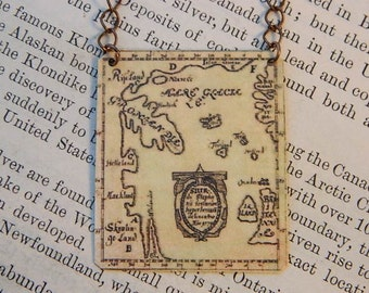 Viking necklace Viking jewelry wearable art Viking Map