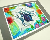 Mini Print- colorful spider, ink jet print with 4.5 x 6.5 card stock backing.