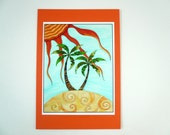 Mini Print- colorful palm tree art, ink jet print with 4.5 x 6.5 card stock backing.