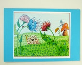 Mini Print- colorful snail, ink jet print with 4.5 x 6.5 card stock backing.