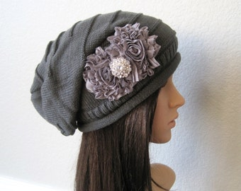 Charcoal Grey Knit Slouch Beanie With Charcoal Grey Chiffon Flowers and a Faux Rhinestone Accent Winter Hats Accessories