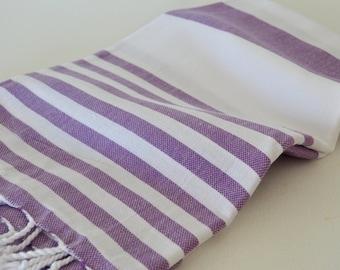 Turkish Beach Towel Cotton Peshtemal Towel in Purple color
