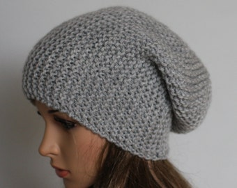 Slouchy Knitted Hat Large Men Women. Knit slouchy Beanie hat. Large  . Chunky Knit Winter.Accessories Oversized Hat Chunky.