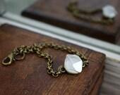 RAW HERKIMER DIAMOND & Bronze Simple Rollo Chain Bracelet
