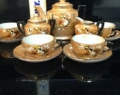 Antique 1940's 13 piece Lusterware Made in Japan Bone China Child's Tea Set play China