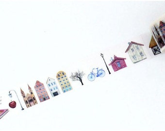 Diary Scrapbook Adhesive Masking Deco Washi Tape - Houses (2 cm Width)