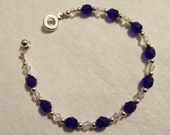 Dark Sapphire Blue Crystal, Clear Crystal and Silver Bracelet