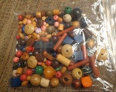 Mixed Lot of Vintage Very Small to Medium Size Wooden Beads, Multi Colored, 5 Oz.