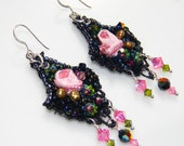 Parisian Romance - Artisan Beaded Chandelier Earrings - Black, Pink, Olive Mixed Media Earrings