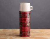 1973 Vintage Red Plaid Thermos Bottle No. 2242 - King-Seeley