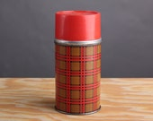 1973 Vintage Red Plaid Thermos Bottle - Aladdin Industries - 10 oz - Wide Mouth