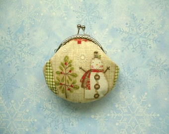 SHOP CLOSING SALE  Snowman and Christmas Tree coin purse - Handmade Gift, Holiday Gift, Birthday Gift, Stocking Stuffer