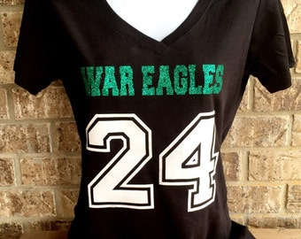 Custom Football Shirt- Mascot Name and Number- Front only, Football Girlfriend shirt - Football Mom shirt