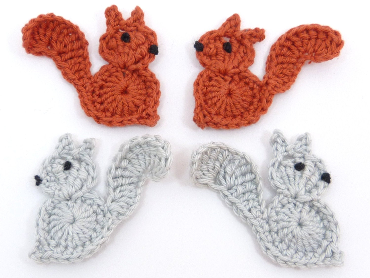 crochet appliques 4 small grey and rust applique squirrels cardmaking scrapbooking appliques. Black Bedroom Furniture Sets. Home Design Ideas