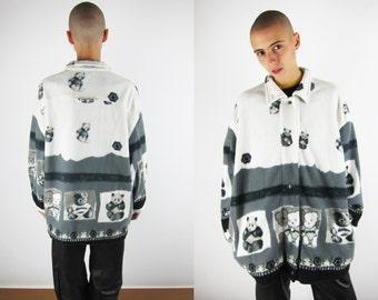 Teddy Bear Print Blanket Jacket