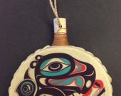 Tlingit Northwest Native American GOING to the POTLATCH Holiday Drum Ornament by Israel Shotridge