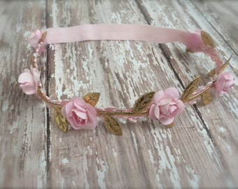 Light Pink and Gold Leaf Jeweled Rosette Angel Halo Headband - Perfect Newborn Photo Prop