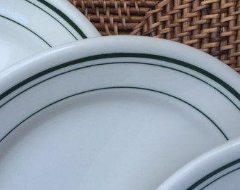Homer Laughlin Classic Green Stripe Dessert Plates, ca. 1960s