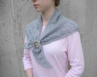 Sylvie Shawl Knitting Pattern, Shoulder Warmer, Small Shawl Wrap, Triangle Scarf, Lace Edge, Sport DK Yarn