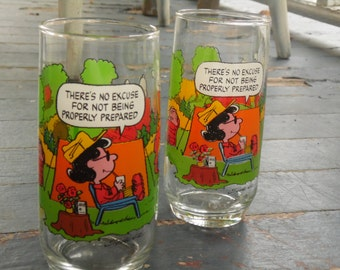 Camp Snoopy Glasses - Set Of 2 - 12 Oz - McDonalds
