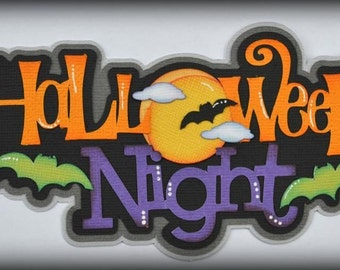 Elite4u Halloween Night Paper Piecing Title for Premade Scrapbook Pages Layouts
