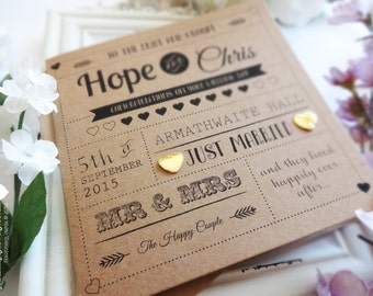Rustic Style Personalised Wedding Congratulations Card