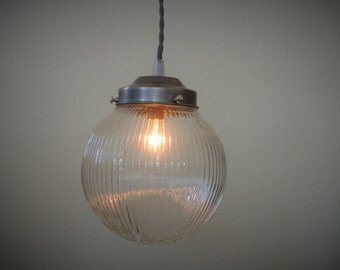 Prismatic Ribbed Glass Globe & Steel Pendant Light