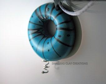 Polymer Clay Air Pendant - light blue - WEARABLE ART!!!