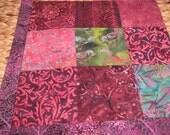 "14"" x 14"" Batiks Pillow COVER - 9 Squares of Nature Royal Twilight Purples Royal Plums Song Bird Garden"