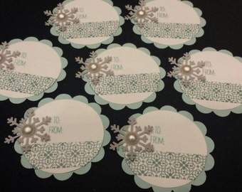 Snowflake Christmas gift tags - set of 7