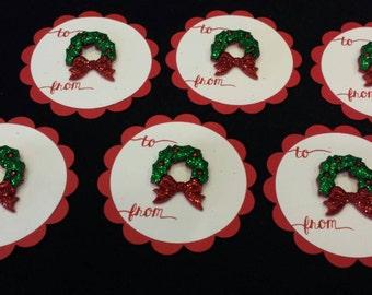 Christmas Wreath Gift Tags - set of 6