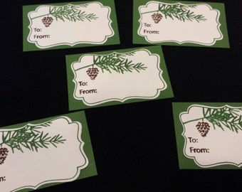 Pine Cone Christmas Gift Tags - set of 5