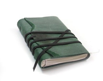 Large Journal Leather Notebook Diary - Muted Mint Green Hunters Green Leather - Notebook