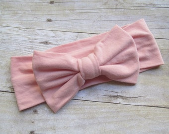 headwrap, baby headwrap, baby headband, big bow headband, infant headwrap, knit headwrap,Peach pink headwrap, baby turban headband