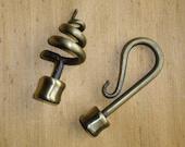 "Wrought Iron Finials - Antique Brass, Hook or Spiral, Fits Pole 1 1/8"" Diameter, Drapery Hardware, Steampunk Supplies"