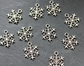 Snowflake Charms 10pcs Double Sided, Jewellery Making Supplies, Silver Tone Winter Christmas