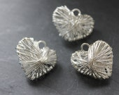 Wire Heart Pendants 3pc, Silver Tone Jewellery Making Supplies,