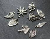 Assorted Leaf Charms 8pcs, Jewellery Making Supplies, Silver Tone Charms