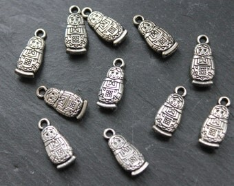 Russian Doll Charms 10pcs Double Sided, Jewellery Making Supplies, Silver Tone Matryoshka Charm